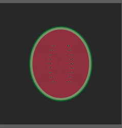 half watermelon with seeds front view cross vector image