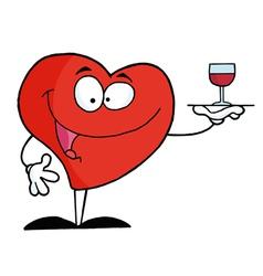Heart Serving Wine vector image