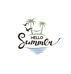 hello summer lettering with beach vector image