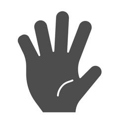 hi five solid icon five fingers gesture vector image