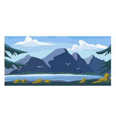 High mountain view landscape alpine natural vector