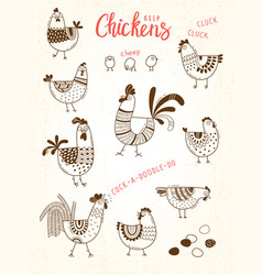 Images of chickens hens cocks eggs vector