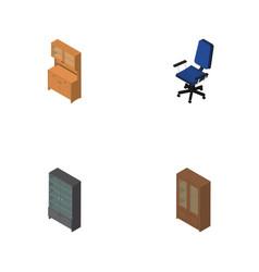 Isometric furnishing set of office cupboard vector
