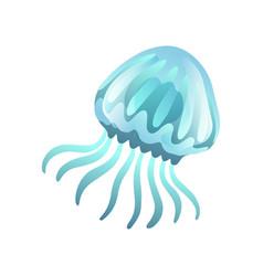 Jellyfish beautiful swimming marine underwater vector