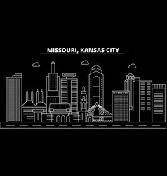 kansas city silhouette skyline usa - kansas city vector image