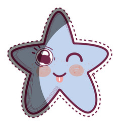 Kawaii funny star with tongue outside vector