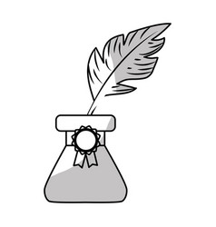 Line cute inkpot with feather to writing vector