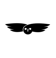 logo owl flying bird negative space style design vector image