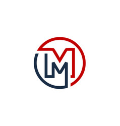 M letter circle line logo icon design vector