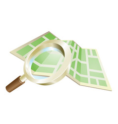 Magnifying glass map concept vector