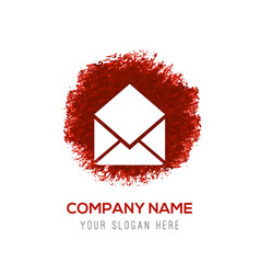 Mail icon - red watercolor circle splash vector