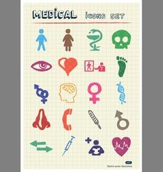 Medical and human web icons set vector image