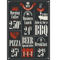 Menu price list vector