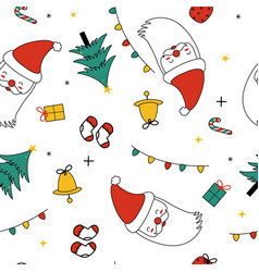 merry christmas cute elements seamless pattern vector image
