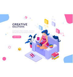 modern girl theme for website vector image