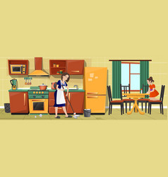 mother and girl cleaning kitchen together vector image