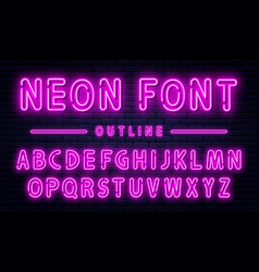 Neon alphabet with numbers purple font vector