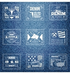 Original authentic denim jeans labels vector image