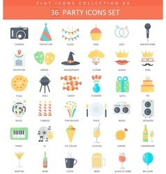 party color flat icon set Elegant style vector image