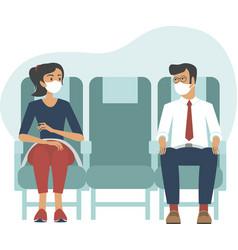 Passengers wearing protective masks on flight vector