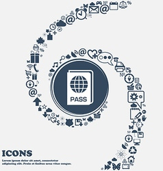 Passport icon in the center Around the many vector image