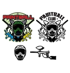 Pattern with mask and gun for paintball vector