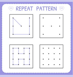 repeat pattern worksheet for kindergarten and vector image