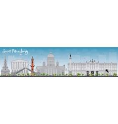 Saint Petersburg skyline with grey landmarks vector image