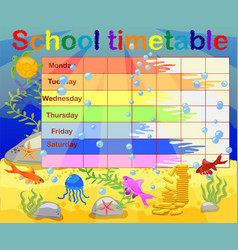 School timetable with marine themes table vector