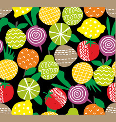 seamless pattern with hand drawn fruits and vector image