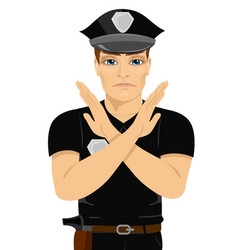 serious young policeman making x sign shape vector image