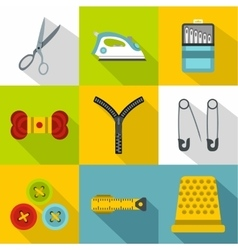 Sewing supplies icons set flat style vector