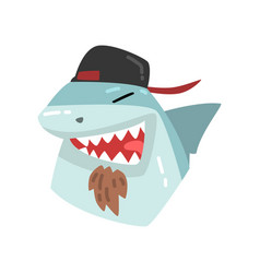 shark wearing baseball cap animal portrait vector image