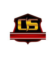 Shield crown leaf letter c s vector
