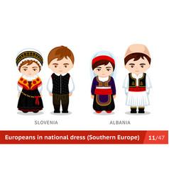 slovenia albania men and women in national dress vector image