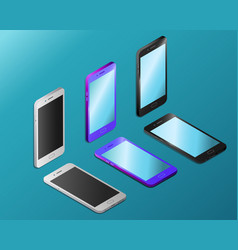 Smartphones with empty screens in isometry vector