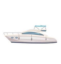 Speed boat yacht on seascape background cartoon vector