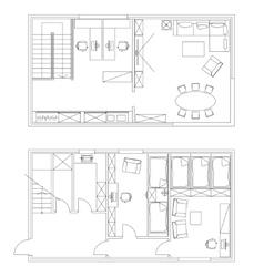 Standard office furniture symbols set vector image