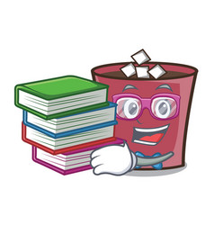 Student with book hot chocolate mascot cartoon vector