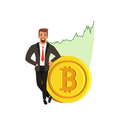 Successful businessman near golden bitcoin vector