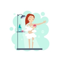Taking a Shower Daily Routine Activities of Women vector