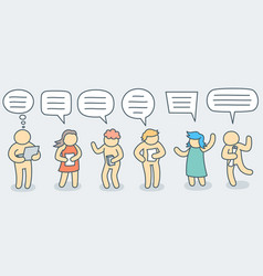 talking people with simple doodle bubble set vector image