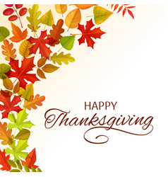 Thanksgiving day greeting card with leaves vector