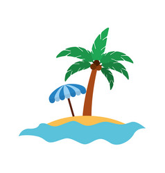 Tree palm with umbrella summer icon vector