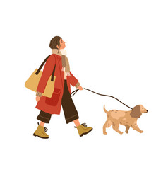 Trendy young woman walking with dog pet owner vector