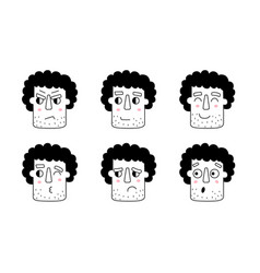 unshaven man face expression guy face different vector image
