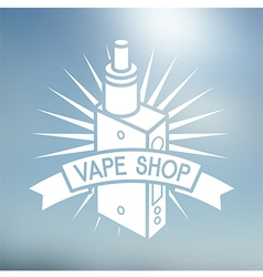 Vape shop logo on blurred background vector image