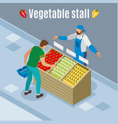 Vegetables purchase isometric background vector