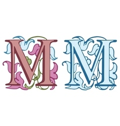 Vintage initials letter M vector image