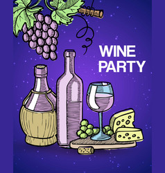 wine tasting party with vector image